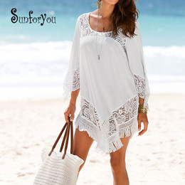 Lace Up Swimsuit Australia - Swim Cover Up Beach Tunic Swimsuit Tunic For Beach 2019 Bathing Suit Cover Ups Lace Bikini Cover Up Saida De Praia Beach Wear J190618