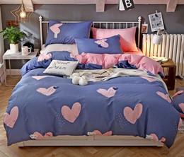 striped sheet sets 2019 - Thicken Cotton Bedding Set Cute Cartoon Printed Duvet Cover Set 4 Pcs Bedding Set with Sheet Pillowcase cheap striped sh