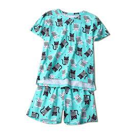 b8d8a7015628c2 Damen kurzarm pyjama sets online-Frauen gestreifte Katzen Pyjama Sets  Baumwolle Sommer Kurzarm Oansatz lose