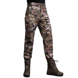 Warm Waterproof Pants Men Australia - Winter Soft Shell Tactical Camouflage Pants Men Waterproof Warm Trousers Camo Combat Cargo Army Shark Skin Fleece Pants