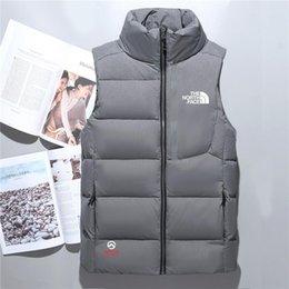 Zipper Down Vest Australia - Hot men down jacket North vest Male Sports Jackets Bomber Collar Zippers Outdoor face Coats