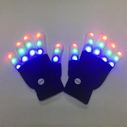 Accendi i guanti per bambini per bambini che lampeggiano con LED colorati a punta di dito che illumina bagliore novità giocattolo regalo per Natale Costume da festa di Halloween in Offerta