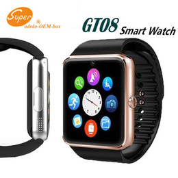 bluetooth smart watch sim Australia - Bluetooth Smart Watch Men GT08 With Touch Screen Big Battery Support TF Sim Card Camera For IOS iPhone Android Phone Top