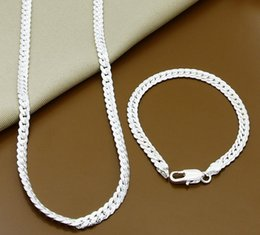 $enCountryForm.capitalKeyWord Australia - 2 Piece 925 Sterling Silver Necklace Bracelet Jewelry Set Cheap Bridal Party Sets Mens 6M Whole Sideway Fashion Silver Necklace