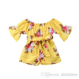 b25cdea9a52e Pretty Kids Baby Girl Floral Romper Girl Summer Flared Sleeve Bow Belt Jumpsuit  Girl Boho Sunsuit Cotton Clothes 6M-5Y