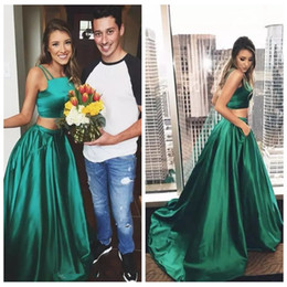 Discount simple silk long prom dresses - 2019 Spaghetti A-Line Two Piece Prom Dresses Long Formal Vintage Special Occasion Party Gowns Simple Women Evening Party
