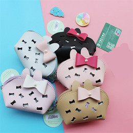 Bow tools online shopping - Bow Knot Zipper Coin Purse D Hollowing Out Bone Wallet Dumpling Shape Key Chain Card Bag Portable Pure Color mkb1