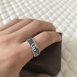 Antique bAnd box online shopping - Millionaire New products silver carving rings jewelry vintage antique silver hand made Hip hop Men and women gg ring With Box gift
