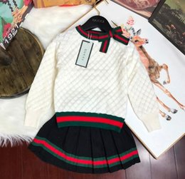 Lace high end skirt online shopping - New Girls High end Sweater Fashion Knit Two piece Skirt Girls Casual Letter Sweater Hoodie Baby Sweater Set