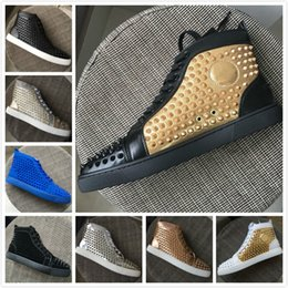 Gold Spiked Red Bottom Australia - Designer luxury mens red bottoms shoes black gold leather with studded Spikes High Top Casual Shoes Best Quality Women Sneakers 35-47