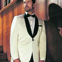 $enCountryForm.capitalKeyWord Australia - Black Shawl Lapel Groom Tuxedos Slim Fit Men Suits for Wedding Man Item Ivory Blazer trajes de hombre Costume Homme 2Piece Terno Masculino
