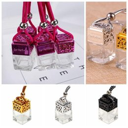 $enCountryForm.capitalKeyWord Australia - Cube Car Perfume Bottle Car Hanging Perfume Rearview Ornament Air Freshener Essential Oils Diffuser Empty Glass Bottle CCA11097 100pcs