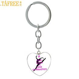 $enCountryForm.capitalKeyWord Australia - TAFREE Keep Calm And Love Gymnastics heart shaped pendant keychain gym lover jewelry women bag car key chain ring holder HP664