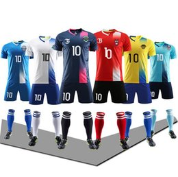 Soccer uniform kitS wholeSale online shopping - Children adults Soccer kit Wear Blank football suits Team uniform training suit adult short sleeves shirt customization Low price