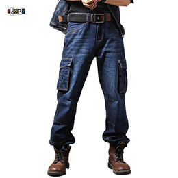 knee length pants for men UK - Idopy Men`s Casual Motorcycle Workwear Multi Pockets Denim Biker Cargo Jeans Pants For Men Plus Size MX190718