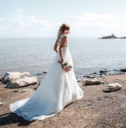 $enCountryForm.capitalKeyWord Australia - 2019 Side Slit Sexy See Through Sweep Train Lace Applique Wedding Dress Tulle Real Photo Beach Bridal Gown