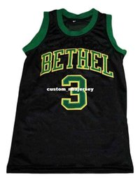 68e710fc8390 wholesale Allen Iverson  3 Bethel High School New Basketball Jersey Black  Stitched Custom any number name MEN WOMEN YOUTH BASKETBALL JERSEYS