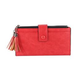 Discount wallets double zippers - Wallet Women Double Zipper Leather Long Wallet Coin Long Section Double Tassel Rectangular Multi-card Simple Coin Purse