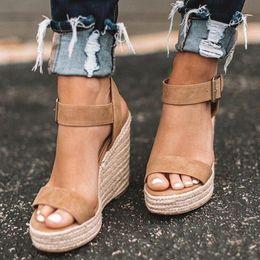 $enCountryForm.capitalKeyWord Australia - Loozykit Summer Black Women Open Toe Platform Wedges Sandals Comfort Fish Mouth Weave Causal High Heels Chaussure Y190704