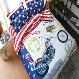 Discount modern girl bedding - 100% cotton modern girl bedding set american flag bedding set usa flag full size for double bed sheet quilt cover pillow