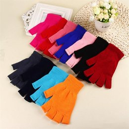 Fashion Women Winter Gloves 11 Colors Unisex Solid Color Knit Warm Mittens Half Finger Elastic Gloves Xmas Gifts TTA1772 on Sale