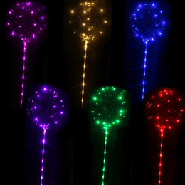 balls balloons sticks NZ - New LED Lights Balloons Night Lighting Bobo Ball Multicolor Decoration Balloon Wedding Decorative Bright Lighter Balloons With Stick
