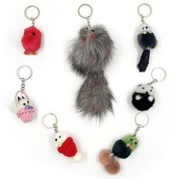 little girls wallets Australia - Hot Mobile Phone bag Plush Keychain Small Fox Cute Keychain Keyring Ornaments Girls Little Mouse Bag Wallet Pendant Keychains 907X30