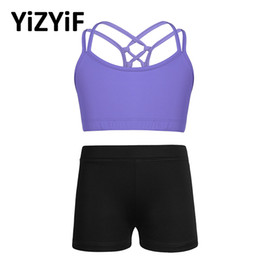 Wholesale kids bras resale online - Kids Girls Yoga Costume Outfit Tanks Bra Tops Crop Top With Shorts Activewear Set Children Ballet Dance Workout Exercise Clothes