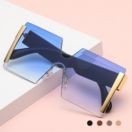 pink butterfly glasses Australia - Oversized Rimless Sunglasses Women Big Shades Fashion High Quality Men Square Sun Glass Female Metal Gradient Shades UV400
