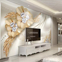 $enCountryForm.capitalKeyWord Australia - 3D Embossed Flower Jewelry Crystal Diamonds Wallpaper Silk Mural Sofa TV Background Wallpaper Living Room decor Large Fresco 3D Wallpaper