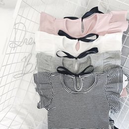 Girls Ruffle Shirts Australia - Baby Girl Clothes 2019 Summer White Ruffles T Shirt Baby Bow Tees Casual Fly Sleeve Cotton Baby Clothes Infant Princess Blouse