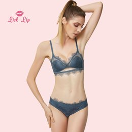 7533cd1b3d Lick Lip Top Sexy Underwear Set Push-up Bra and Panty Sets 3 4 Cup Womens  See Through Brassiere Bralette Lingerie Set SWC4586-45