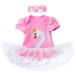 Infant Tutus Wholesale Australia - New 0-2year newborn baby girl clothes lace swan baby romper princess tutu baby girl romper+bows designer headband 2pcs Infant Jumpsuit