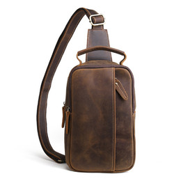 men cowhide chest bags Australia - Hand-made Crazy Horse Genuine Leather Casual Sling Chest Pack Men Crossbody Shoulder Bag Men's Cowhide Messenger Bag