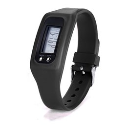 Silicone Sport pedometer watch online shopping - Children Silicone Digital LCD Pedometer Distance Calories Counter Sport Watch