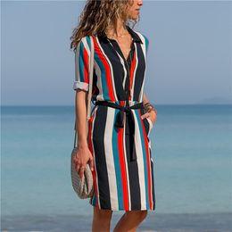 $enCountryForm.capitalKeyWord NZ - Women Designer Pocket Casual Dress Long Sleeve Decorative Pattern Print Shirt Dress Vacation Style Chiffon Dress