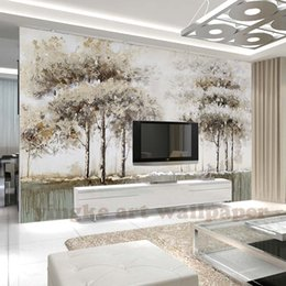 Elegant Decor Living Rooms Australia - Custom Mural Wallpaper elegant modern 3D North European Style trees forest Wallpaper For Walls 3 D Hotel Living Room Home Decor