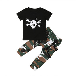 $enCountryForm.capitalKeyWord Australia - Cute Kids Baby Boy Skull Short Sleeve Cotton T-Shirt Tops Camo Long Pants Fashion Leggings 2Pcs Outfits Clothes