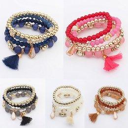 BaseBall Beads online shopping - 5 Styles Special Design Wrap Bracelets Durable Acrylic Trend Beads Bangle Tassel Bracelets Vintage Multilayer Bracelet Perfect Gift B642S Y