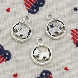 Dog Charms Australia - 107pcs Charms circle scotty dog 15mm Pendant,Tibetan Silver Pendant,For DIY Necklace & Bracelets Jewelry Accessories