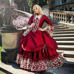 $enCountryForm.capitalKeyWord Australia - Vintage Victorian Burgundy Ball Gown Wedding Dresses with Long Bell Sleeves New 2019 Retro Lace Gothic Corset Ruffles Bridal Gowns Plus Size
