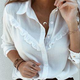 Wholesale blouses ruffles long sleeve vintage for sale – plus size Women Autumn Blouses Vintage Solid Ruffles Blouse Long Sleeve Shirt Office Lady Camisas Feminina Female Tops Fashion White Shirt