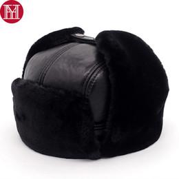 Fur Hats Men Australia - 2018 New Men 100% Natural Real Sheepskin Leather Bomber Hats Male Casual Winter Warm Sheepskin Leather Cap Hot Russia Adult Caps D19011503