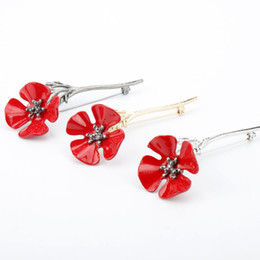 $enCountryForm.capitalKeyWord Canada - 3D Vintage Red Poppy Flower Squid Brooch Pin Collar Corsage Gold Silver Black Pins Shirt Badge Vintage Jewelry Gift for Women