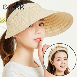 big hats for sun NZ - wholesale Summer Hats For Women Big Wide Brim Empty Top Lady Hat Sunscreen Sun Visor Sun Hat Beach Cap Outdoor Cycling Portable New
