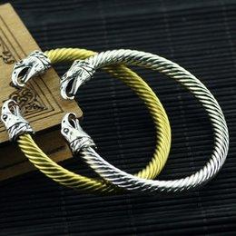 $enCountryForm.capitalKeyWord Australia - Men Punk Leading Opening Bangle Steel Wire Viking Bracelet Unisex High Quality Eagle Head Steel Stripes Bracelet Fashion Jewelry