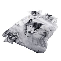 wolf bedding sheet sets 2020 - 3 Pc Bedclothes Bedding Cover Set Pillowcase Duvet Cover Sets Bed 3d Wolf Set Couples Bedding Covers No Bed Sheet @118 c