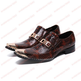$enCountryForm.capitalKeyWord NZ - New Vintage Man Metal Trim Loafers Genuine Leather Square Toe Slip on Flats Alligator Men's Banquet Retro Dress Shoes