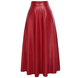 Chinese  Kate Kasin Sexy High Waist Synthetic Leather Womens Skirts Autumn Winter 2018 Women Long Skirt Red Black Vintage Pleated Skirt Y190411 manufacturers