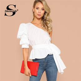 632c2058b7 Sheinside One Shoulder Puff Sleeve Sexy Blouse Asymmetric Belted Solid  Peplum Top 2019 White Summer Blouses Elegant Women Tops Y19043001